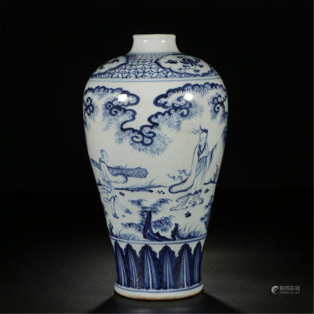 CHINESE PORCELAIN BLUE AND WHITE FIGURES MEIPING VASE