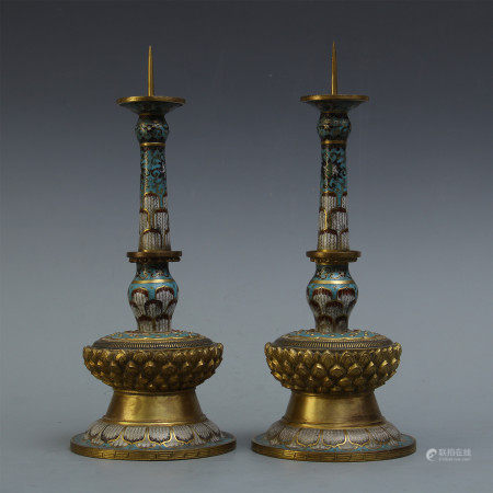 PAIR OF CHINESE CLOISONNE CANDLE HOLDERS