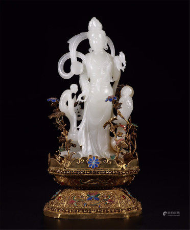 CHINESE WHITE JADE STANDING GUANYIN ON GILT SILVER ENAMEL STAND