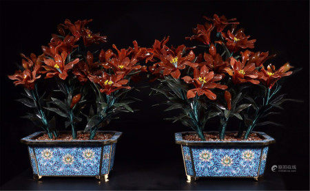PAIR OF CHINESE RED AGATE SPINACH JADE BENSAI IN ENAMEL BASIN