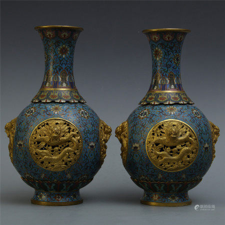 PAIR OF CHINESE CLOISONNE DRAGON VASES