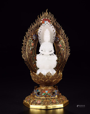 CHINESE WHITE JADE SEATED GUANYIN ON GILT SILVER ENAMEL STAND