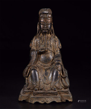 CHINESE GILT BRONZE SEATED OFFICIAL
