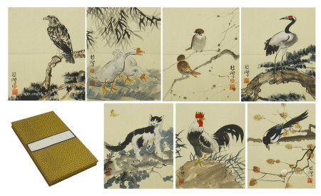 SIXTEEN PAGES OF CHINESE ABLUTM PAINTING OF BIRD AND FLOWER