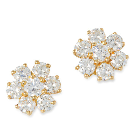 A DIAMOND CLUSTER EARRINGS set with round cut diamonds totalling 2.36 carats, marked indistinctly,