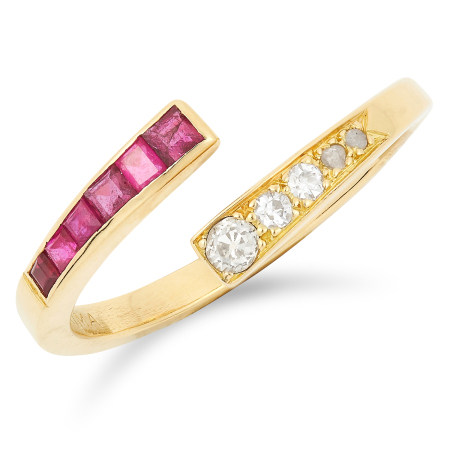 A RUBY AND DIAMOND OPEN BAND RING, ANDREW GRIMA, CIRCA 1960 set with round and rose cut diamonds and