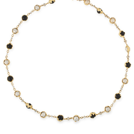 AN IMPORTANT ONYX AND DIAMOND SAUTOIR NECKLACE, CHARLES DE TEMPLE 1974 the longchain formed of