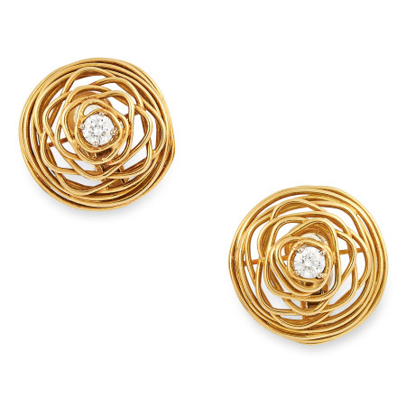 A DIAMOND CLIP EARRINGS, ANDREW GRIMA, CIRCA 1970 each of open wirework design set with a round