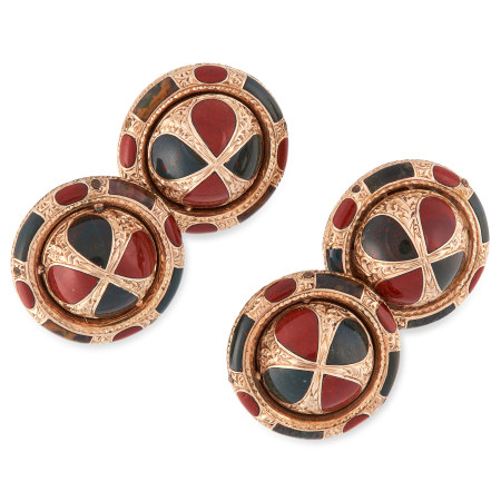 A PAIR OF ANTIQUE SCOTTISH HARDSTONE CUFFLINKS of circular design set with alternating panels of