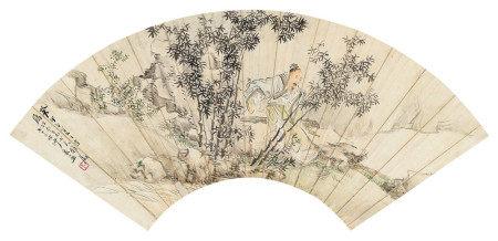 沙馥(1831~1906) 1903年作 竹林雅士 镜心 设色纸本