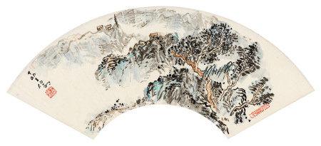 王伯敏(1924~2013) 1987年作 山水 立轴 设色纸本