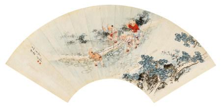 吴光宇(1908~1970) 1939年作 童戏图 镜心 设色纸本