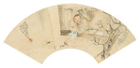 钱慧安(1833~1911) 人物 镜心 设色纸本