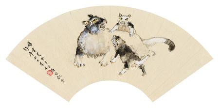 张聿光(1885~1968) 1962年作 母子图 镜心 设色纸本