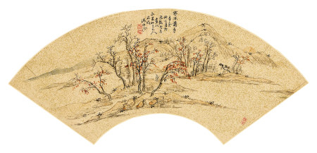 汤贻汾(1778~1853) 1951年作 寒林萧寺 立轴 设色纸本