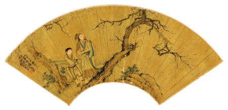 沙馥(1831~1906) 1885年作 携琴寻梅 镜框 设色金笺纸