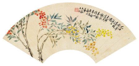 吴大澂(1835~1902) 1889年作 天竹 镜心 设色纸本