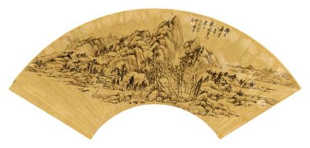 梅曾亮(1786~1856) 1819年作 山水 镜心 水墨金笺纸