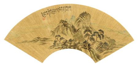 范振绪(1872~1960) 1949年作 深山古寺 镜心 设色金笺纸