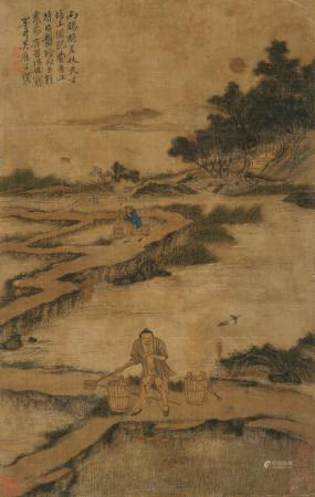 吴历(1632~1718) 春耕图 立轴 设色绢本