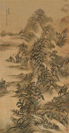 郁希范(清) 1741年作 层峦迭翠 立轴 设色绢本