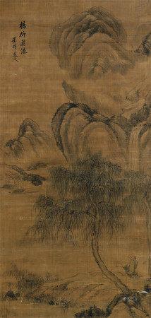 吴历(1632~1718) 杨柳飞瀑 立轴 设色纸本