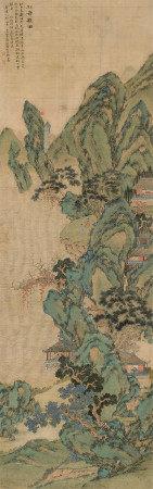 陆治(1496~1576) 1555年作 松岭观瀑 立轴 设色绢本