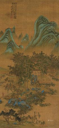 上睿(1634~?) 茅屋读书 立轴 设色绢本