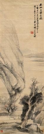 胡公寿(1823~1886) 1870年作 天池石壁之图 镜心 设色绫本