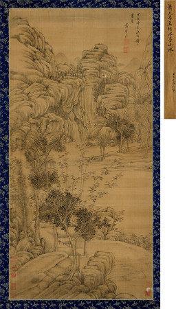 萧云从(1596~1673) 1634年作 山水 立轴 水墨绢本