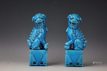 A Pair of Chinese Blue Glazed Porcdelain Foodog