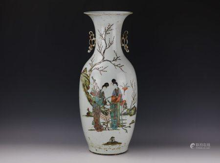 A Chinese Famille Rose Porcelain Vase With Double