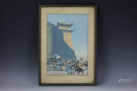 A Chinese Woodblock Paiting of Peking North Gate Signed