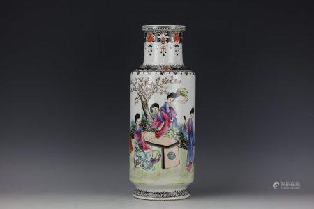 A Figural Famille Rose Rouleau Vase