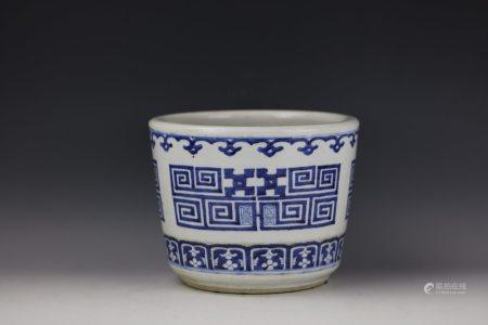 A Blue and White Dragon Pattern Flower Pot