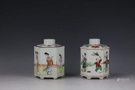 A Group of 2 Famille Verte Tea Jars