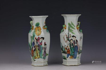 A Pair of Figural and Lyrics Famille Rose Hexagonal