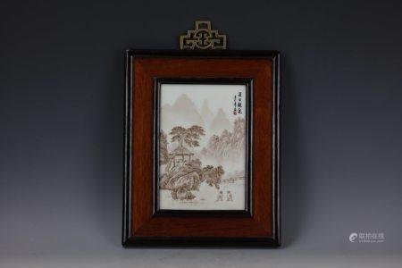 A Black Ink Landscape Figural on Porcelain Plaque