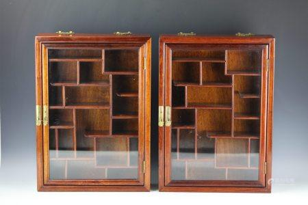 A Pair of Burmese Rosewood TREASURES Display Boxes