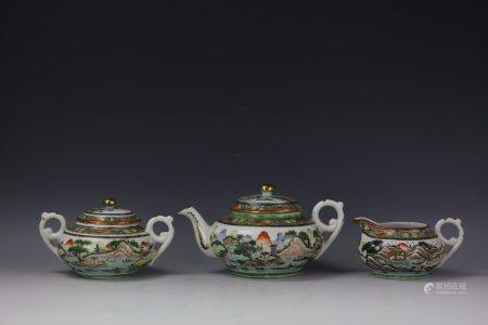A Group of Chinese Export Famille Verte Coffee Pots and