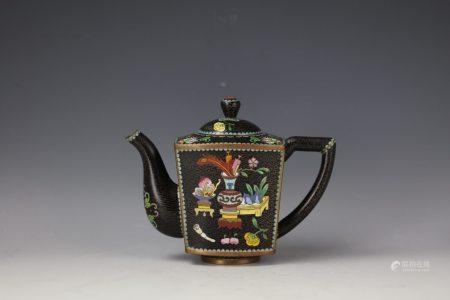 A TREASURES Cloisonne Square Teapot