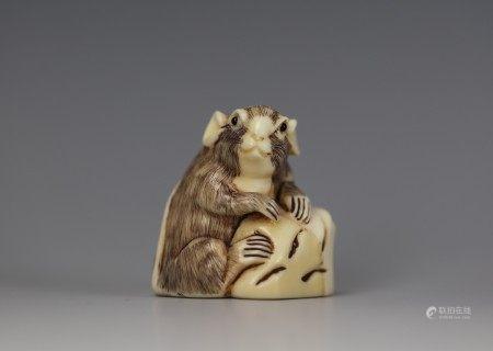 A Cattle Bone Carved Netsuke of A Rat
