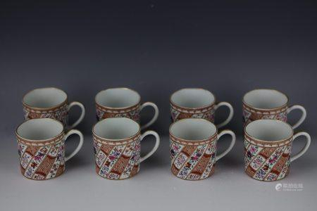 A Group of 8 Edme Samson Chinese Export Gilt Famille