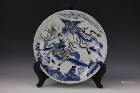 A Dragon and Phoenix Blue Under Glaze Red Plate