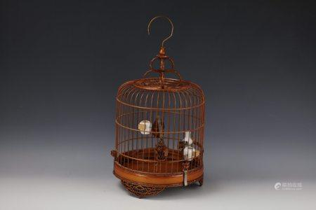A Chinese Handmade Bamboo Birdcage