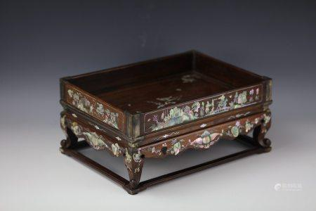 19th Century Rosewood Tray with Mother of Pearl Inlay