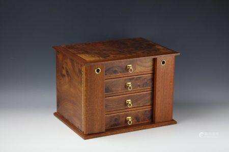 A Franch Handmade Burl Rosewood Jewelry Box