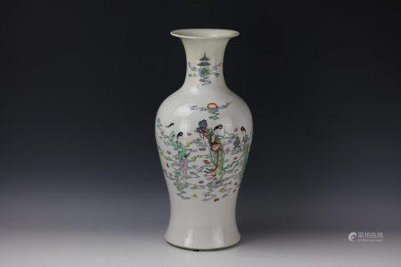 A FAIRIES Famille Rose Vase with Poem