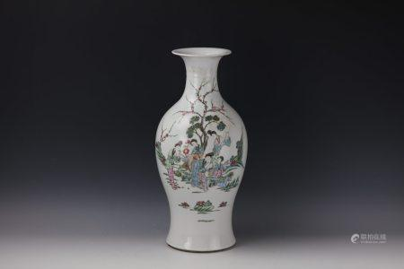 A LADY Famille Rose Vase with Poem