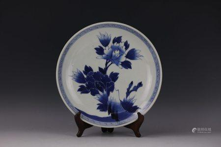 A Blue and White Large Plate
